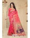 Magnificent Peach Uppada Silk Saree