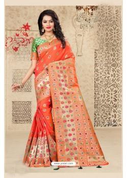 Modern Orange Uppada Silk Saree