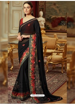 Fashionable Black Georgette Saree