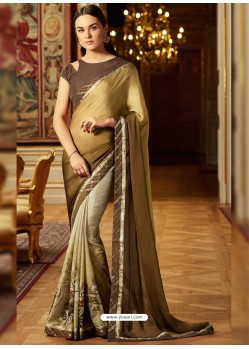 Astounding Beige Georgette Saree