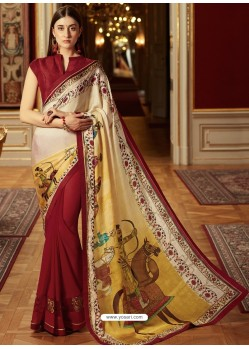 Stunning Wine Georgette Saree