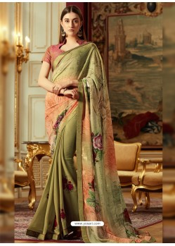 Sensational Olive Green Georgette Saree