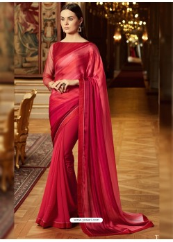 Remarkable Red Georgette Saree
