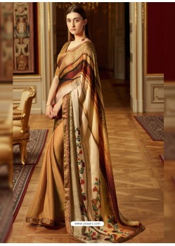 Spectacular Beige Georgette Saree