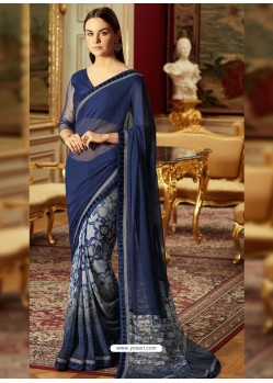 Stupendous Navy Blue Georgette Saree