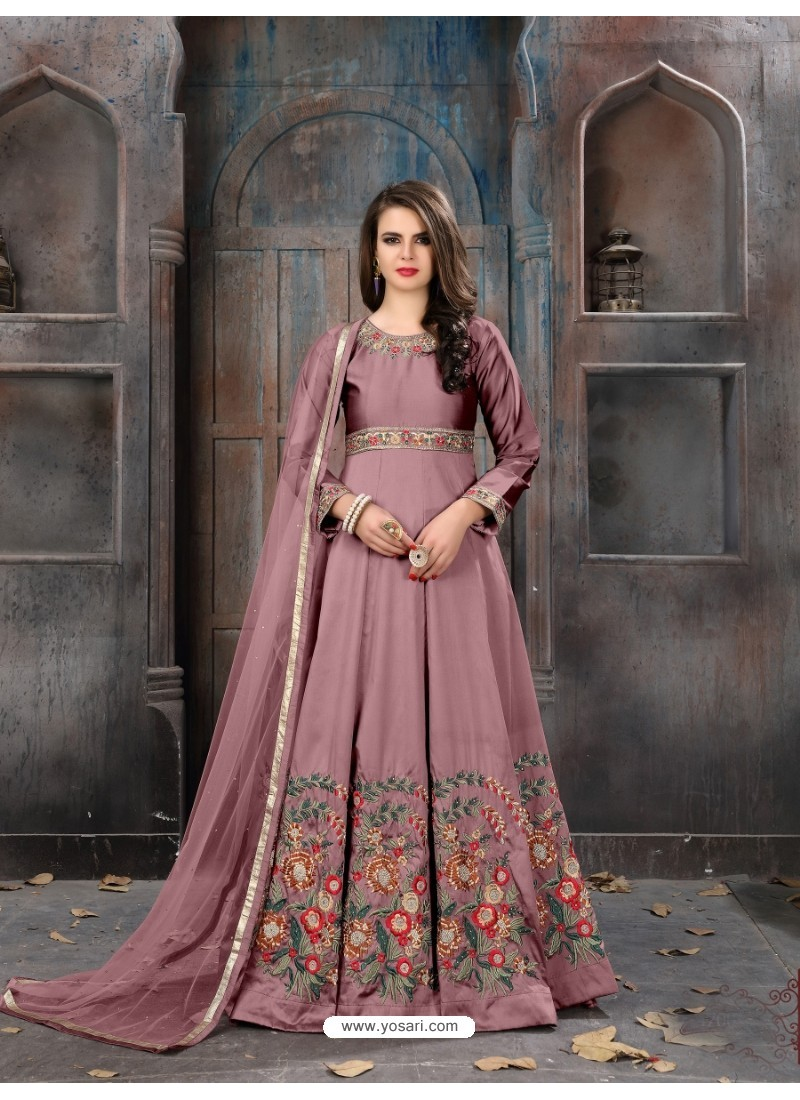 Pink Taffeta Silk Embroidered Floor Length Suit