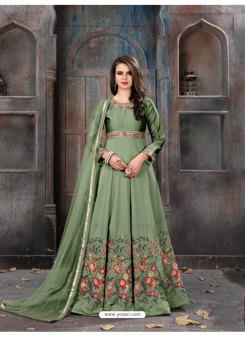Mehendi Taffeta Silk Embroidered Floor Length Suit