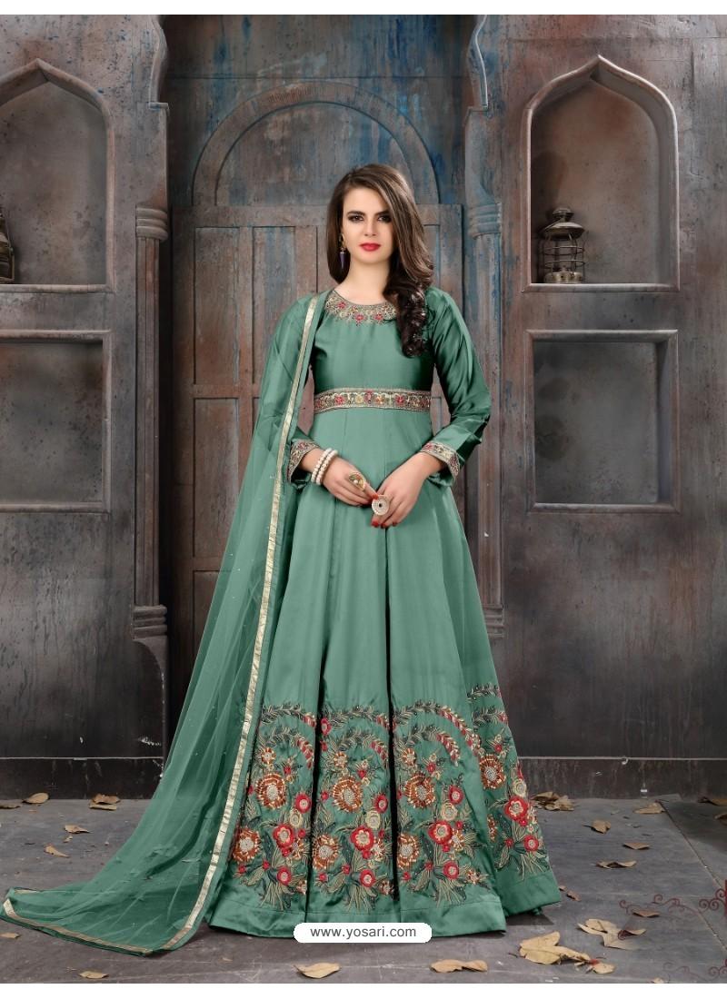 5cfcdd07956 Buy Aqua Mint Taffeta Silk Embroidered Floor Length Suit