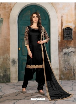 Black Art Silk Embroidered Suit
