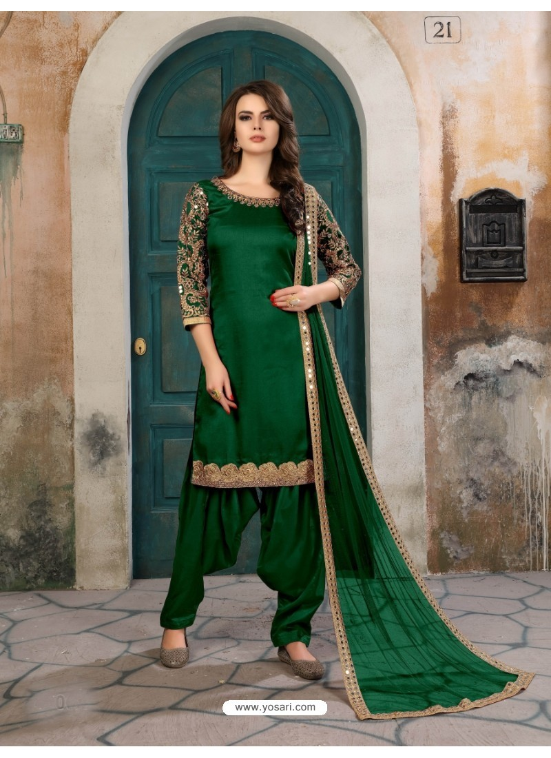Green Art Silk Embroidered Suit