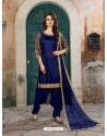 Blue Art Silk Embroidered Suit
