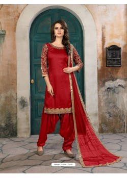 Red Art Silk Embroidered Suit