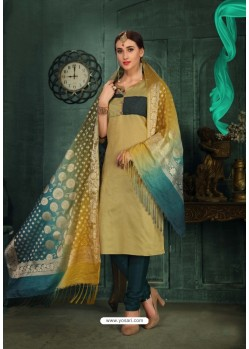 Mind Blowing Beige Chanderi Silk Suit