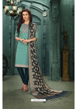 Attractive Turquoise Chanderi Silk Suit
