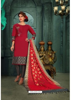 Pretty Red Chanderi Silk Suit