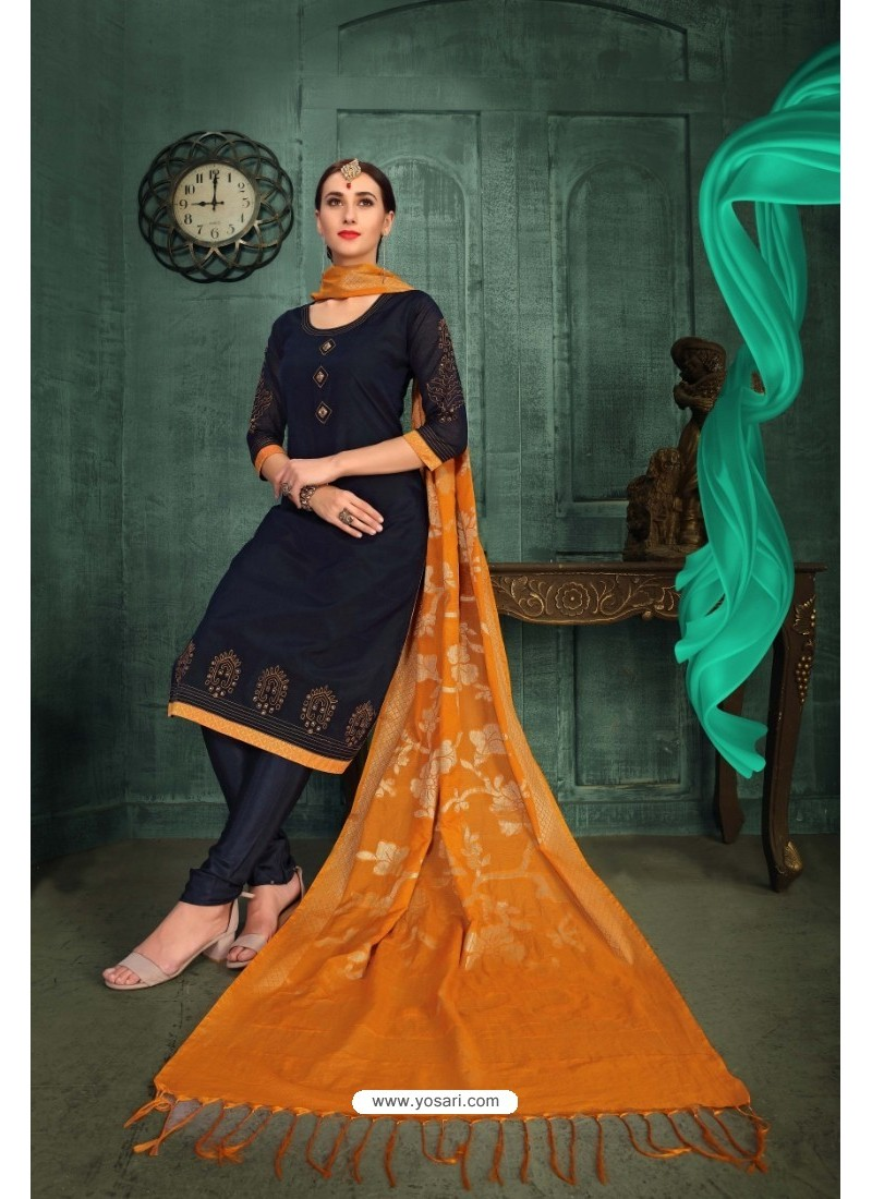 Nice Looking Navy Blue Chanderi Silk Suit