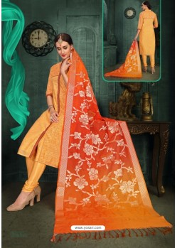 Pleasing Mustard Chanderi Silk Suit