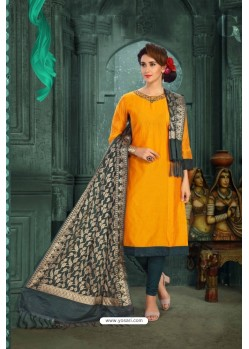 Graceful Yellow Chanderi Silk Suit