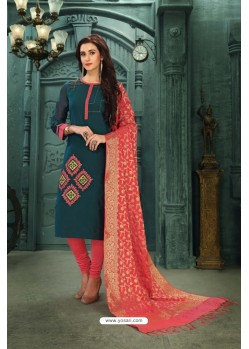 Elegant Tealblue Chanderi Silk Suit