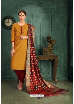 Enhanting Mustard Chanderi Silk Suit