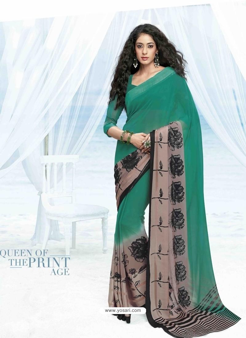 Green Print Work Saree