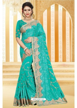 Competent Turquoise Georgette Saree