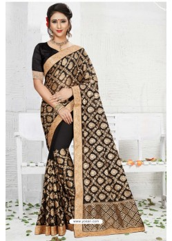Beauteous Black Georgette Saree