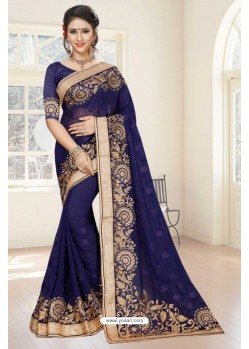 Splendid Navy Blue Georgette Saree