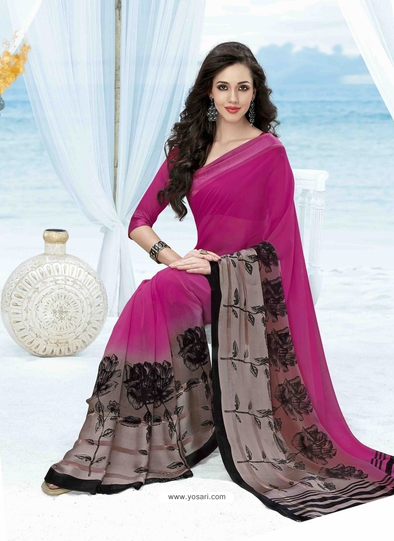Pink Print Work Saree