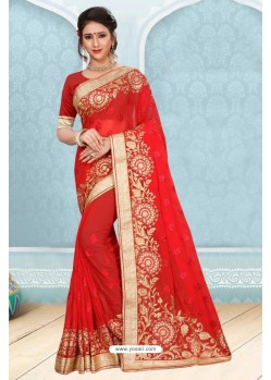 Glorious Red Georgette Saree