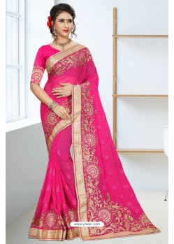 Lovely Fuchsia Georgette Saree