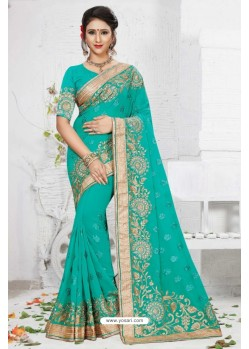 Dazzling Turquoise Georgette Saree