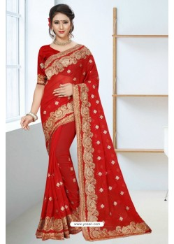 Feminine Red Georgette Saree
