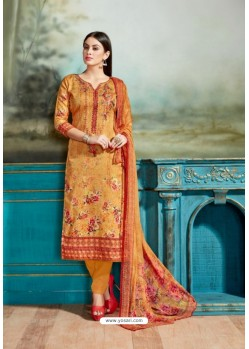 Orange Cotton Printed Suit