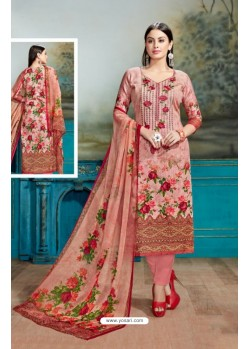 Peach Cotton Printed Suit