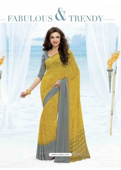 Yellow Print Work Saree