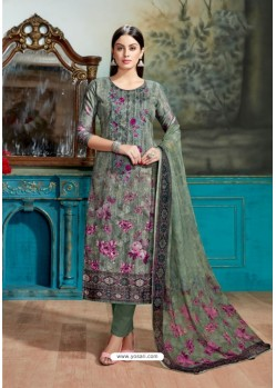 Mehendi Cotton Printed Suit