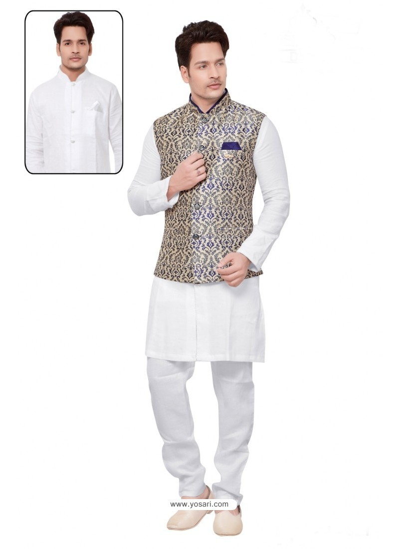 Nice Looking White Linen Kurta Pajama