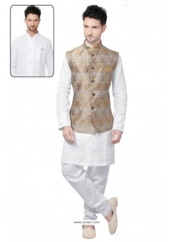 Pleasing White Linen Kurta Pajama