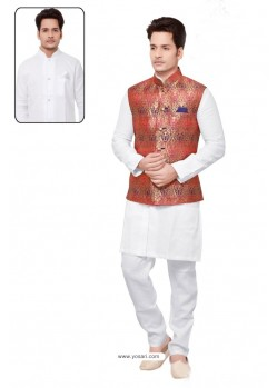 Heavenly White Linen Kurta Pajama