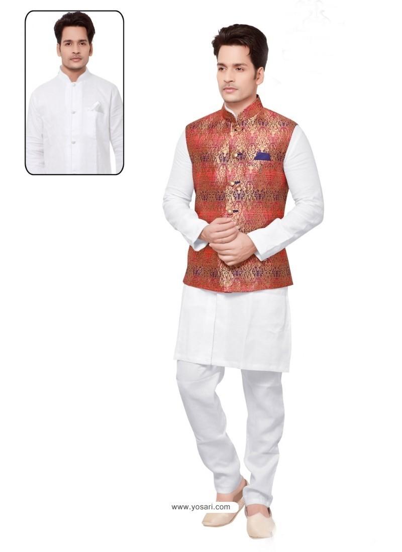 Heavenly White Linen Kurta Pajama