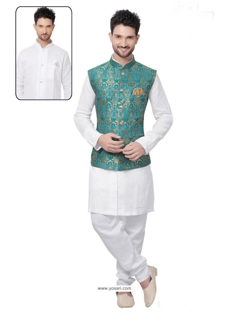 Graceful White Linen Kurta Pajama