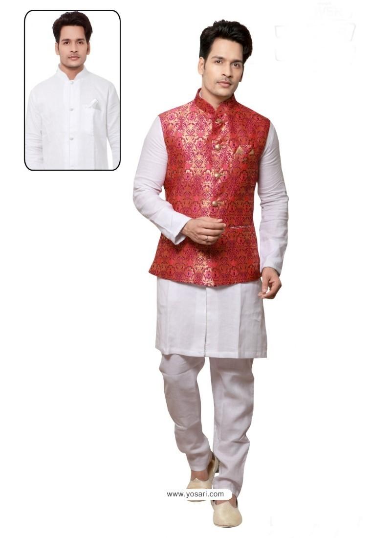 Elegant White Linen Kurta Pajama