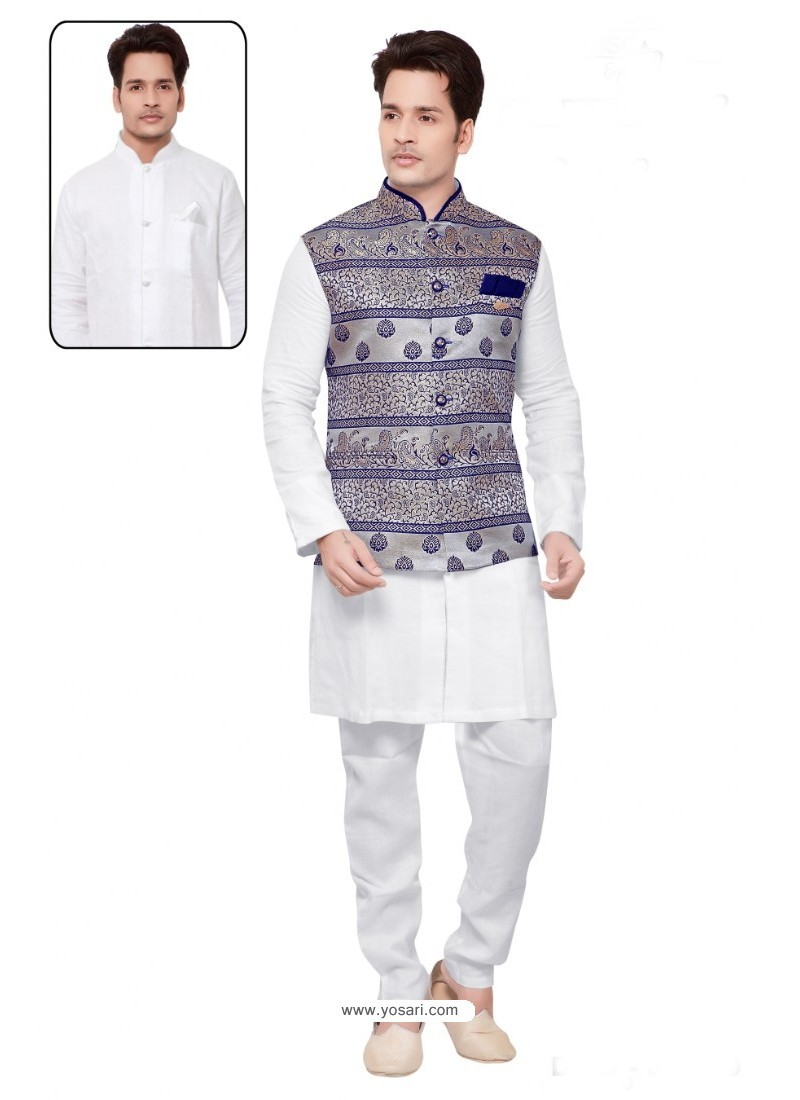 Incredible White Linen Kurta Pajama