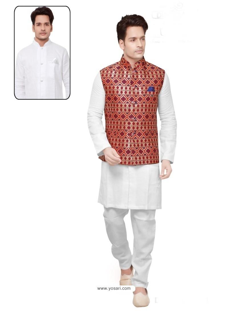 Groovy White Linen Kurta Pajama