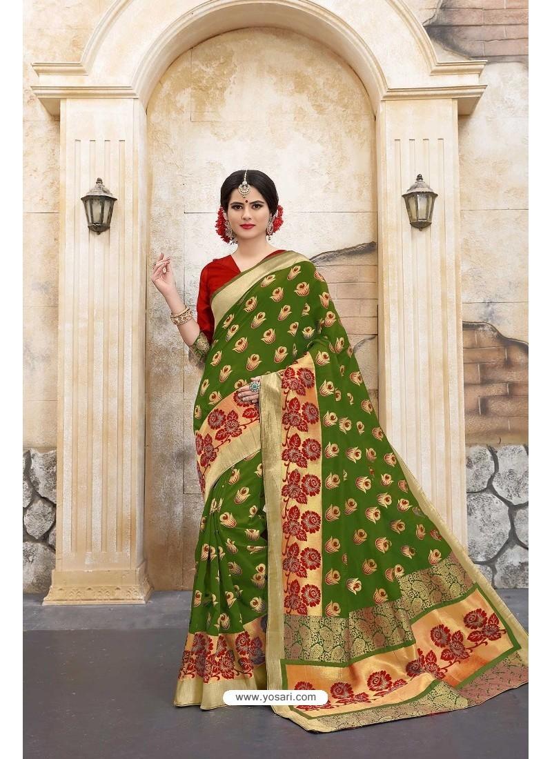 Adorable Mehendi Banarasi Silk Saree