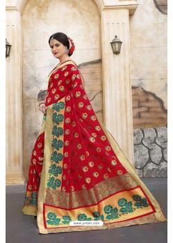 Fashionable Red Banarasi Silk Saree