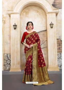 Remarkable Red Banarasi Silk Saree