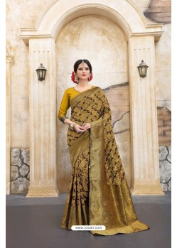 Spectacular Yellow Banarasi Silk Saree