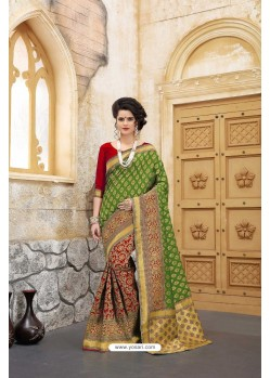 Unbelievable Green Banarasi Silk Saree